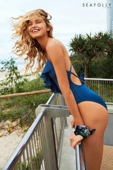 Seafolly Navy Shine On Frill Front Maillot Swimsuit