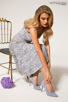 HotSquash Silver V-Neck Floral Lace Dress