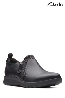 Clarks Black Unadorn Zip Side Shoe