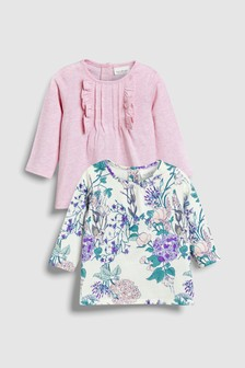 Floral And Frill T-Shirts Two Pack (0mths-2yrs)