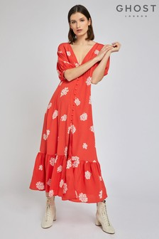 Ghost London Red Izzy Printed Floral Dress