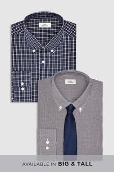 Lot de deux chemises ajustées à carreaux avec cravate