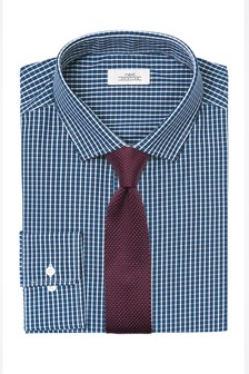 Check Regular Fit Shirt With Knitted Tie Set