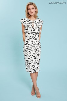 Gina Bacconi White Minako Zebra Print Dress