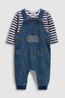 Tiger Dungarees And Stripe Bodysuit Set (0mths-2yrs)