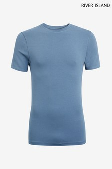 River Island Air Force Blue Muscle Crew Tee