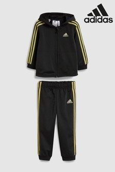 adidas Black 3 Stripe Tracksuit