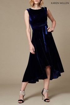 Karen Millen Blue Velvet Fluid Midi Dress