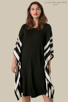 Live Unlimited Black Dress With Stripe Boarder