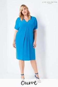 Live Unlimited Blue Cupro Mandarin Collar Dress