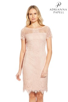 Adrianna Papell Pink Point D Esprit Lace Sheath Dress