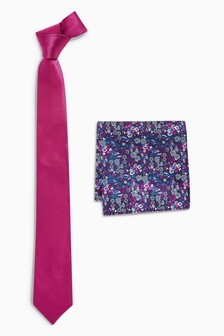 Textured Tie With Floral Pocket Square