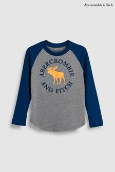 Abercrombie & Fitch Navy/Grey Moose Logo Raglan T-Shirt