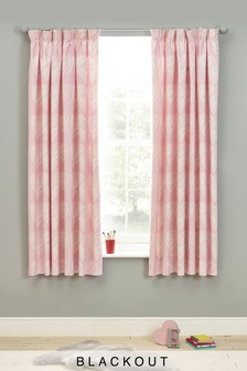Pink Hearts Blackout Pencil Pleat Curtains