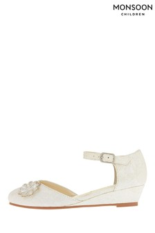 Monsoon Ivory Layla Lace Two Part Wedge