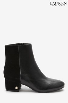 Ralph Lauren Black Leather Ankle Boots