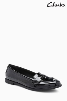Clarks Black Patent Preppyed Youth Penny Loafer