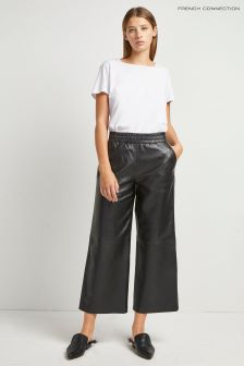 French Connection Black Alia Leather Culotte