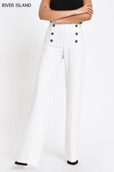 River Island Ivory Stripe Button Front Trouser