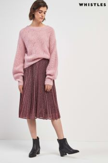 Whistles Pink Sparkle Pleated Skirt