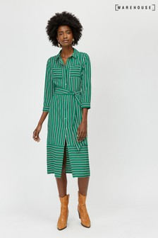 Warehouse Green Stripe Utility Shirt Dress