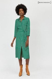 שמלת חולצה צבאית עם פסים ירוקים של Warehouse