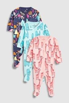 Три пижамы с рисунками животных (0 мес. - 2 лет)