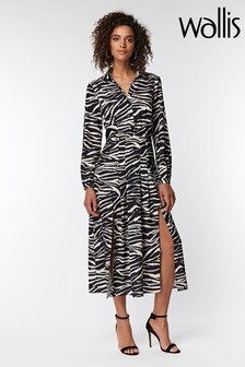 Wallis Black Zebra Split Shirt Dress