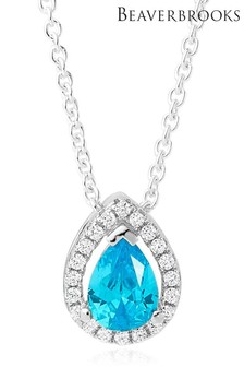 Beaverbrooks Silver Blue Cubic Zirconia Pear Shaped Halo Pendant