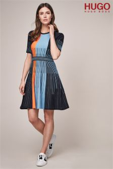 HUGO Knit Navy Orange And Blue Contrast Panel Dress