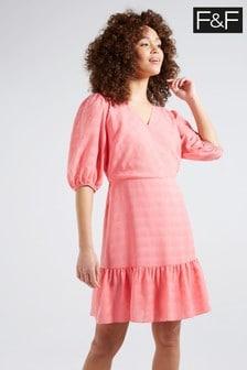 F&F Coral Texture Wrap Dress