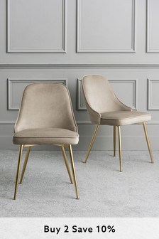 Set Of 2 Skyla Dining Chairs With Brass Legs