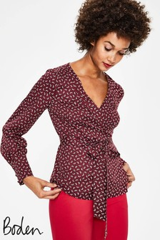 Boden Brown Belle Wrap Blouse