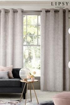 Lipsy Silver Grey Geo Velvet Eyelet Curtains