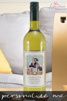 Personalised Photo Upload Rose Gold Polaroid White Wine by Signature PG