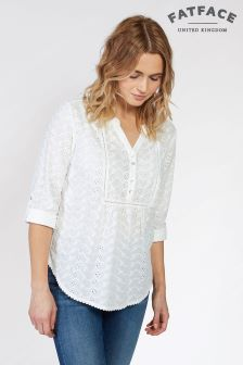 FatFace White Poppy Broderie Popover Shirt