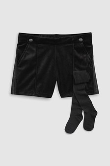 Velour Shorts With Sparkle Tights (3-16yrs)