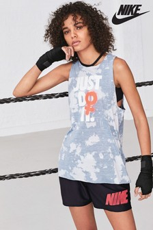 Nike White/Blue Marble Rebel Tank