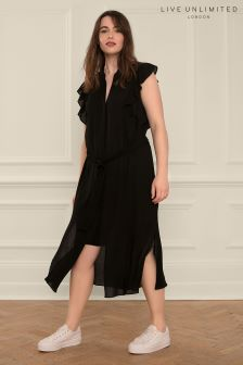 Live Unlimited Black Flutter Sleeve Dress