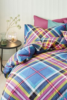 Brushed Cotton Bright Check Bed Set