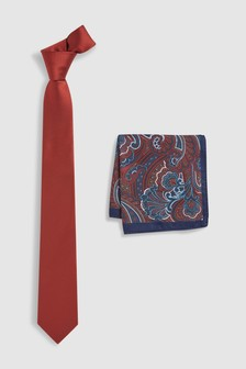 Tie And Paisley Pocket Square Set