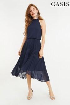 Oasis Blue Megan Chiffon Midi Dress