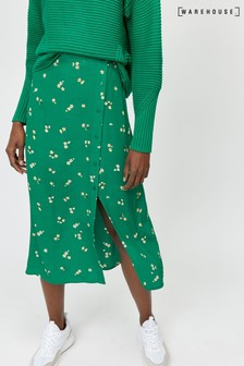 Warehouse Green Verity Ditsy Floral Midi Skirt