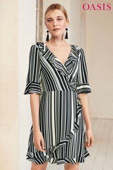 Oasis Black Stripe Wrap Ruffle Front Dress