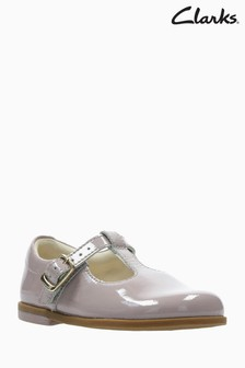 Clarks Pink Patent Leather Drew Shine T-Bar First Shoe