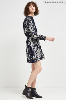 French Connection Navy Multi Rishiri Drape Flared Dress