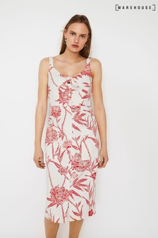 Warehouse Red Floral Tie Midi Dress