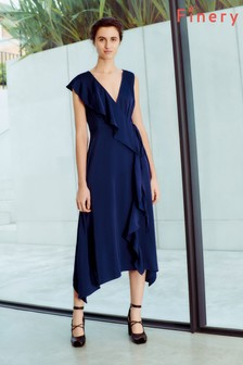 Finery London Blue Layla Satin Wrap Dress