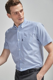 Regular Fit Short Sleeve Easy Iron Button Down Oxford Shirt