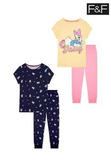 F&F Daisy Yellow Pyjamas Two Pack